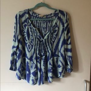 Vanessa Virginia ikat peasant top